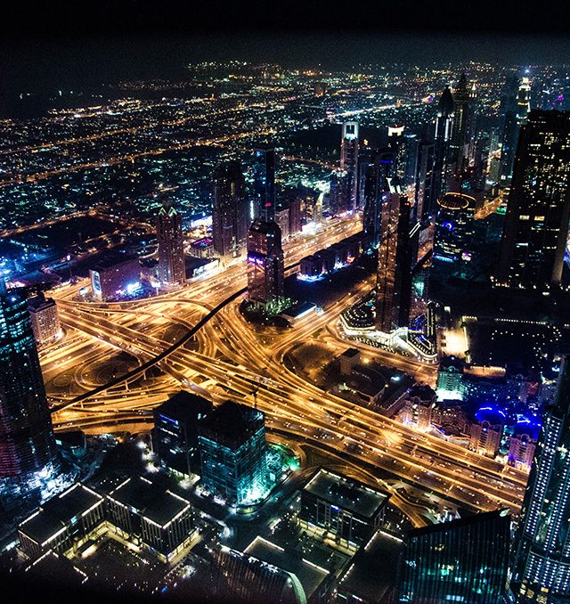 Dubai night sky